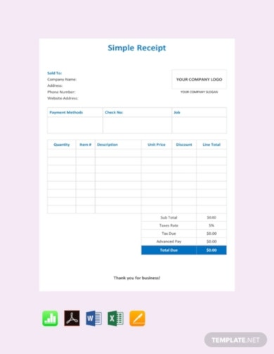 free simple receipt template