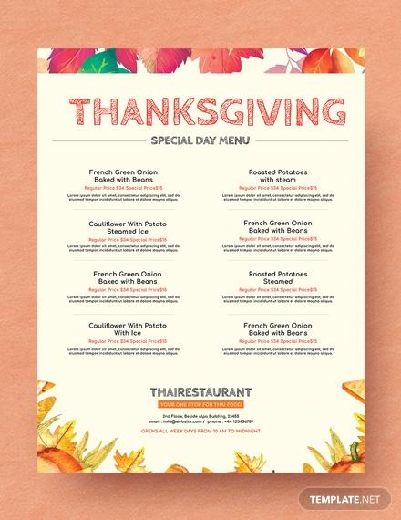 free simple thanksgiving menu template