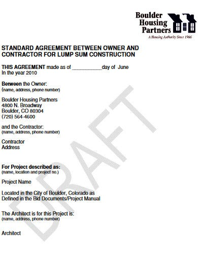 free standard construction agreement
