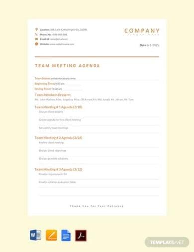free team meeting agenda template