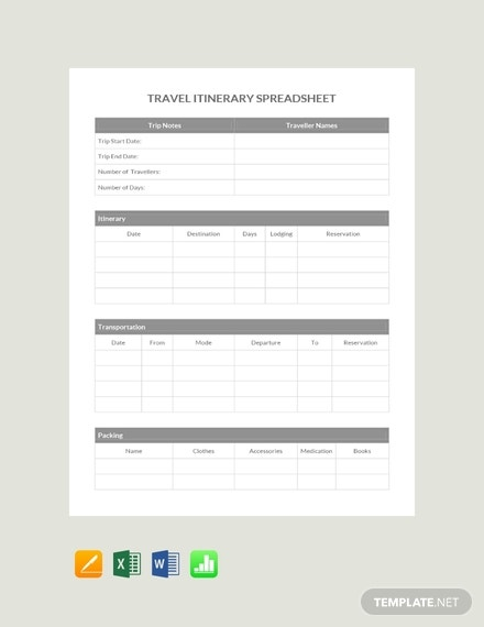 free travel itinerary spreadsheet template