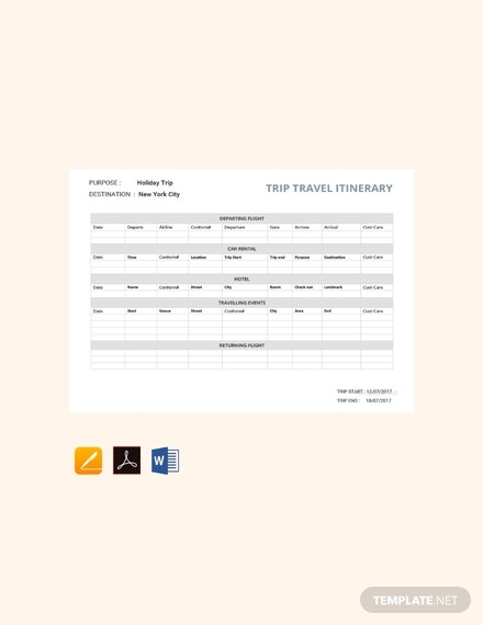 free travel itinerary template1