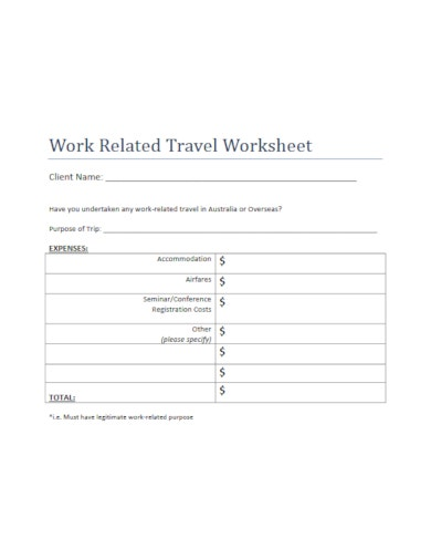 free travel worksheet template