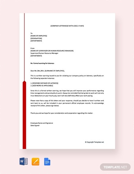 free warning letter for lateness template