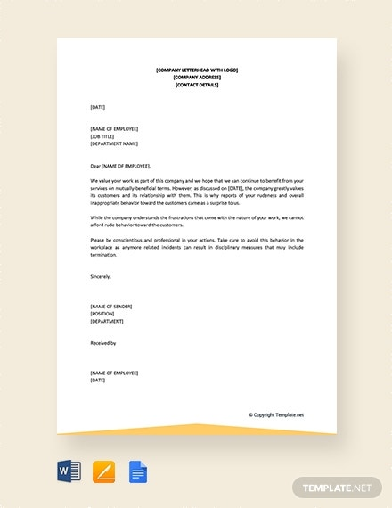 free warning letter for bad behavior at work template