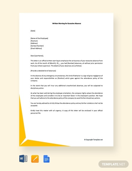 free warning letter for excessive absence template