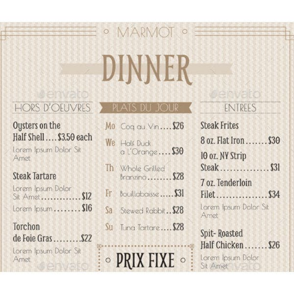 french cafe menu template1