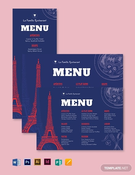 french dinner menu template2