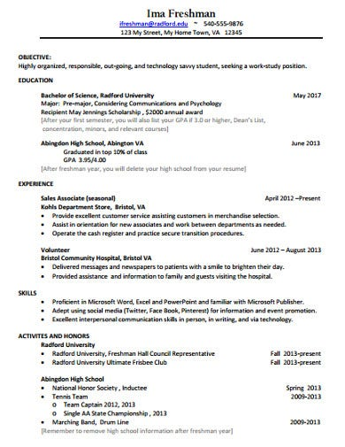 freshman college application resume template