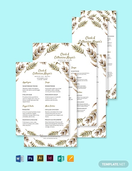 function wedding menu template