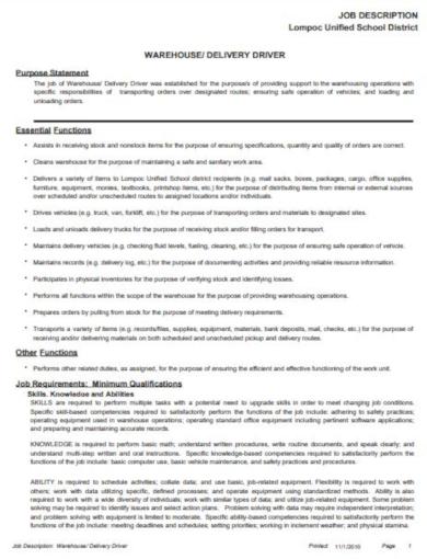 functional driver job description template