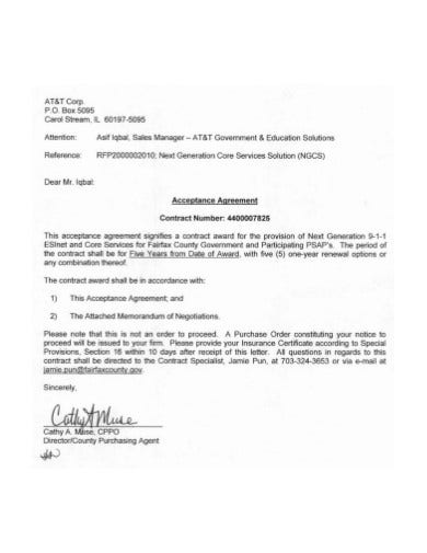 general acceptance agreement