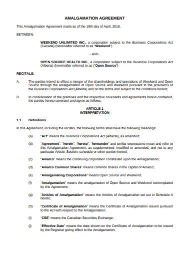 general amalgamation agreement