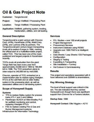 general project note template