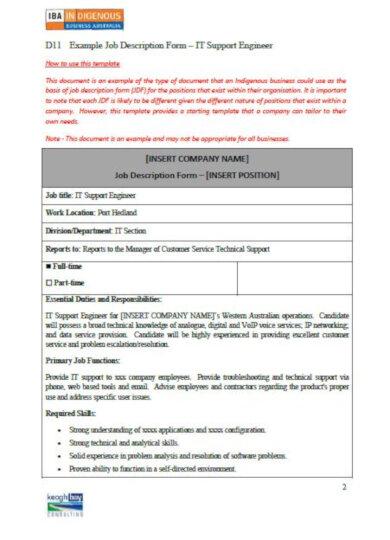 generic job description form