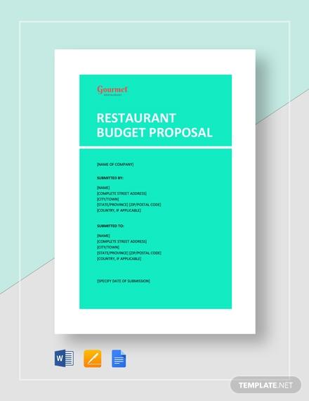 gourmet restaurant budget proposal example