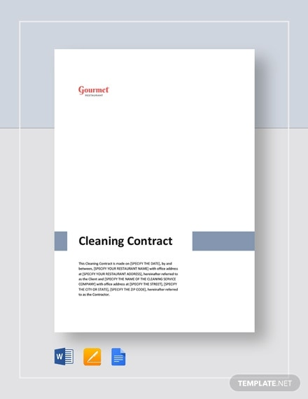 gourmet restaurant cleaning contract sample