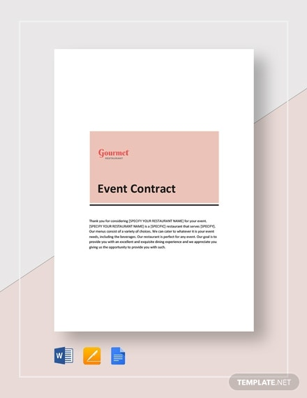gourmet restaurant event contract template
