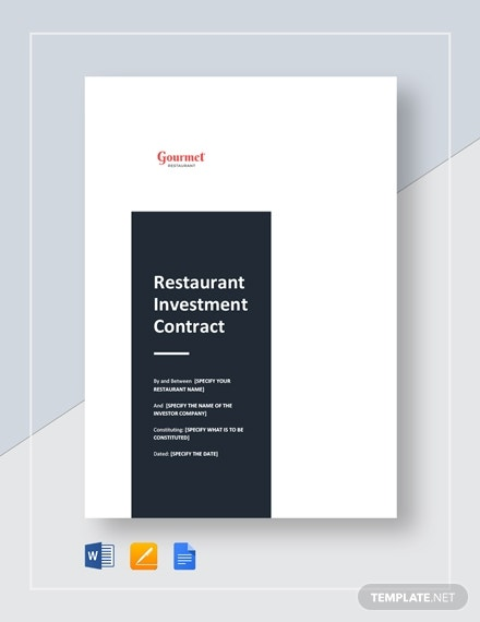 gourmet restaurant investment contract sample