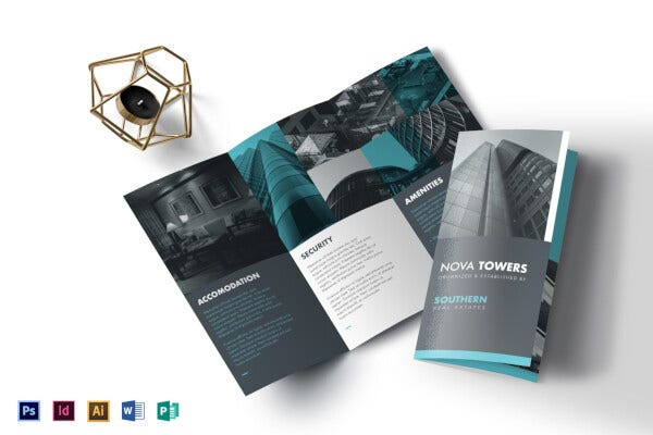 grey and green real estate trifold brochure template