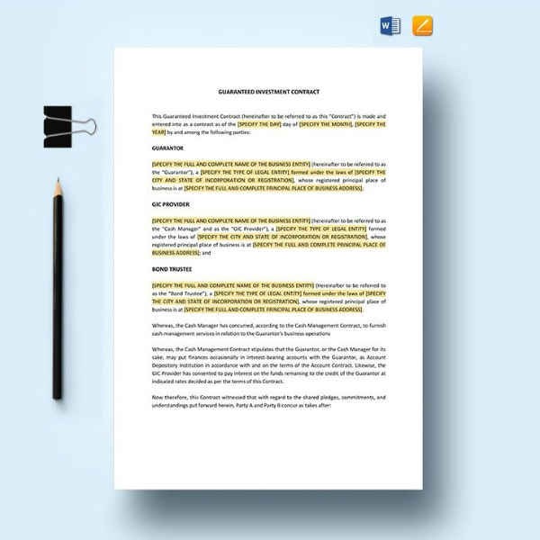 guaranteed investment contract form template