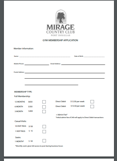 gym membership application contract template