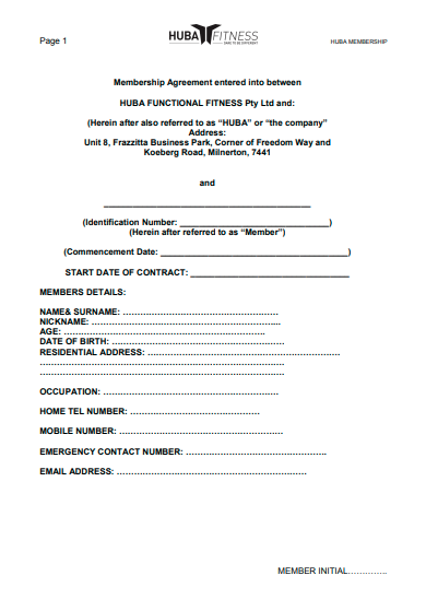 gym membership contract agreement template