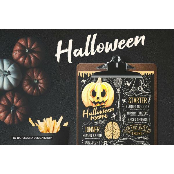 halloween party food menu template