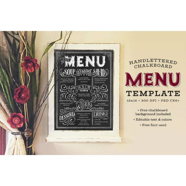 hand lettered chalkboard dinner menu template