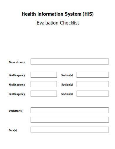 health information evaluation checklist template