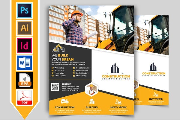 heavy construction flyer template