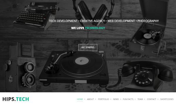 hipstech parallax wordpress theme