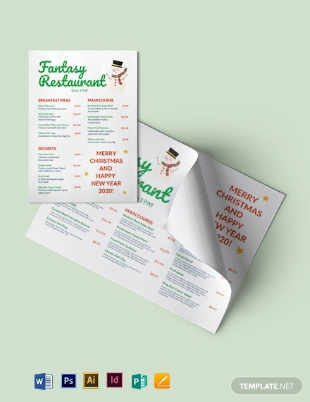 holiday special restaurant menu layout