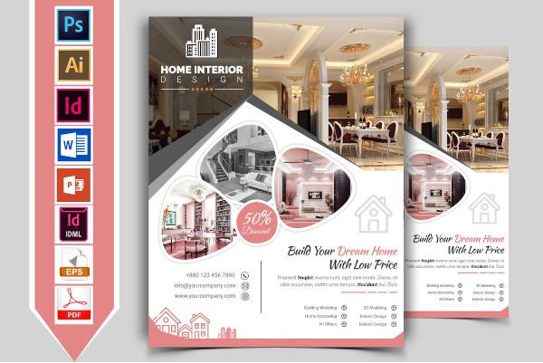 home interior design company flyer template