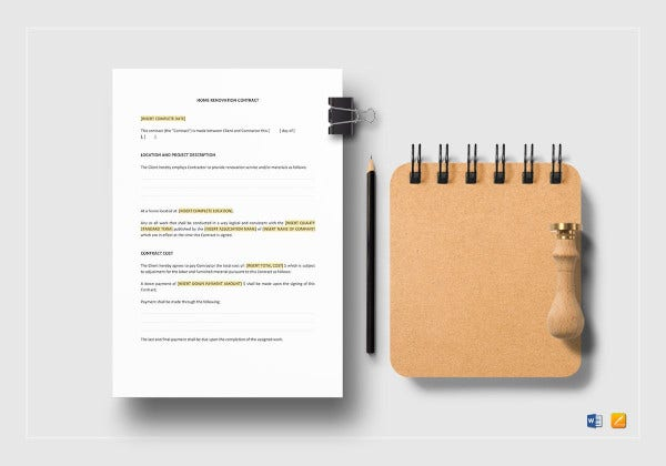 home renovation construction agreement contract template