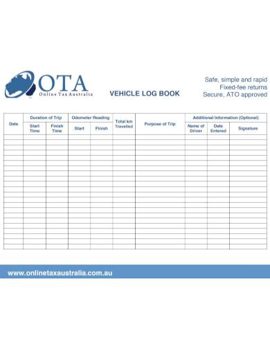 horizontal travel log sheet template