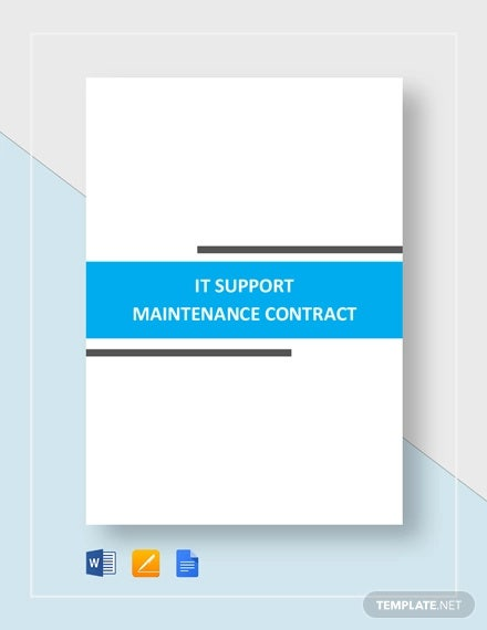 it support maintenance contract template