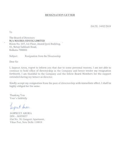 immediate resignation letter formal
