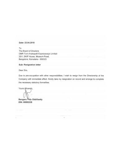 immediate resignation letter sample