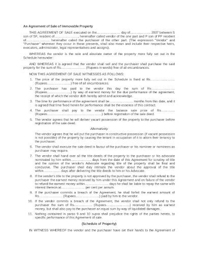 immovable property sale agreement
