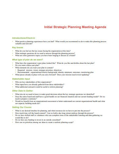 initial strategic planning meeting agenda