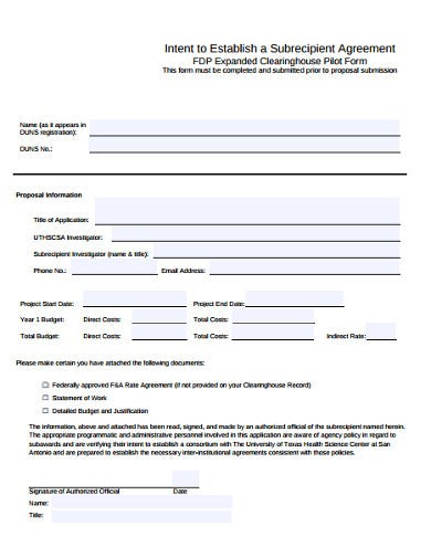 intent agreement proposal example