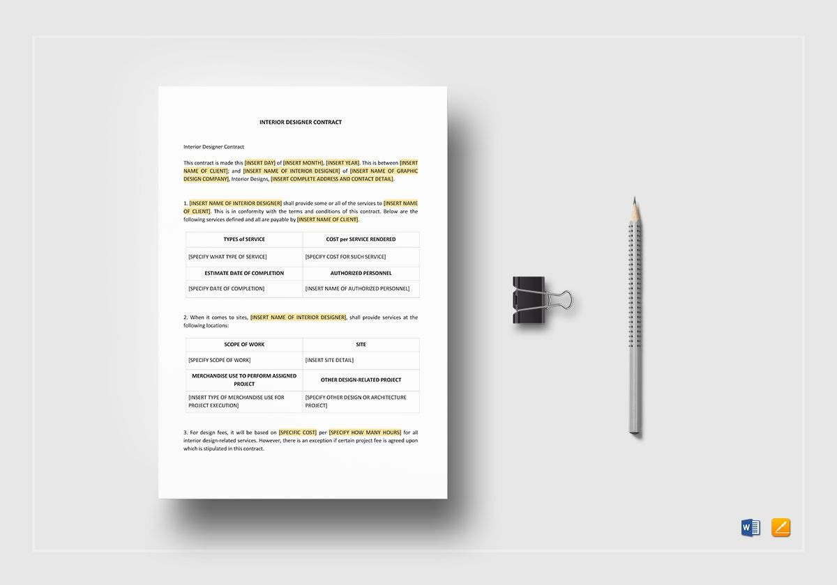 10 Interior Designer Contract Templates Sample Example