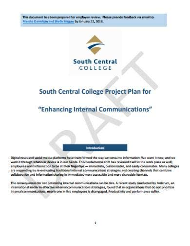 internal communications project plan sample