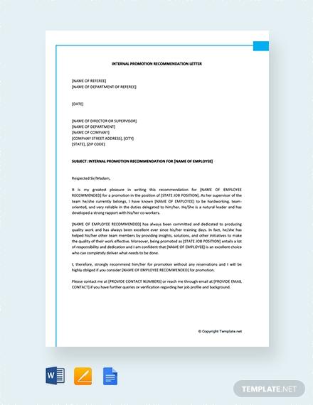 internal promotion recommendation letter