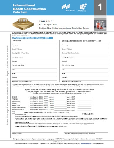 international booth construction order form