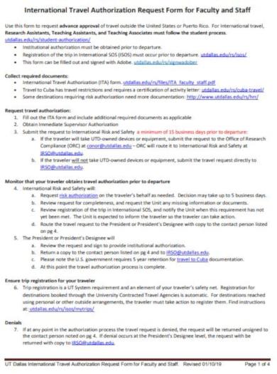 international travel authorization form template