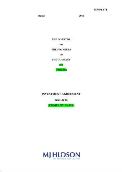 investment agreement sample