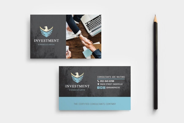 investment consulting financial business card template
