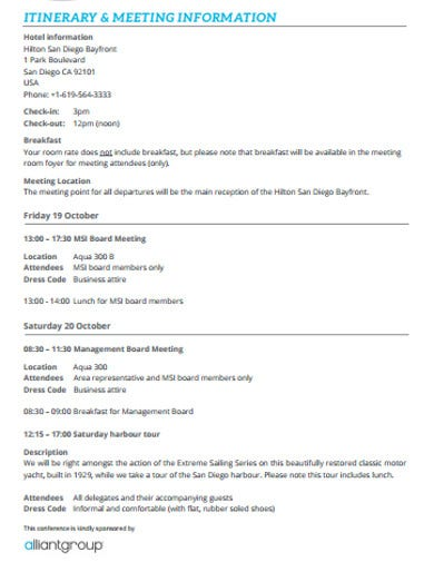 itinerary meeting template example